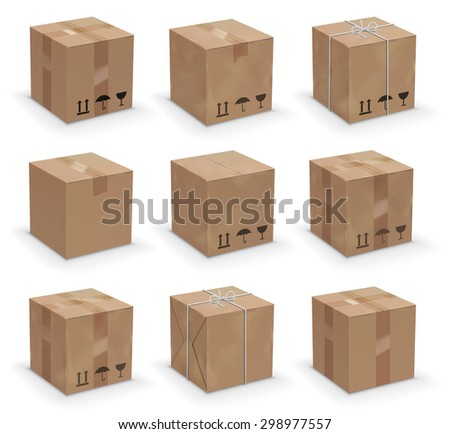 Vector set of 9 different cardboard  boxes, old, worn and brand new - stock vector