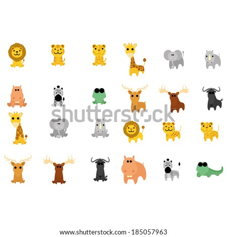 Vector Set Of Different Cartoon Adorable Animals Isolated - stock vector