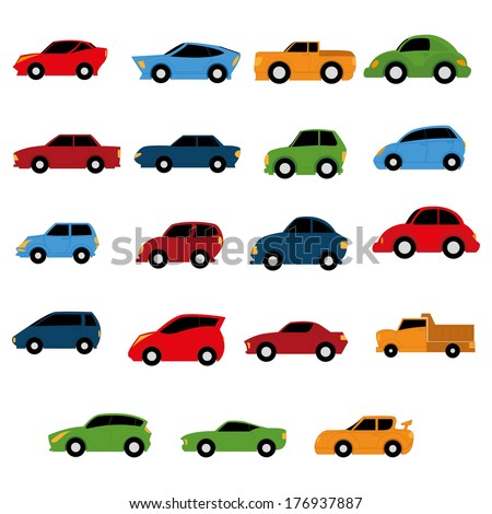 Vector Set Of Different Colorful Cars Isolated - stock vector