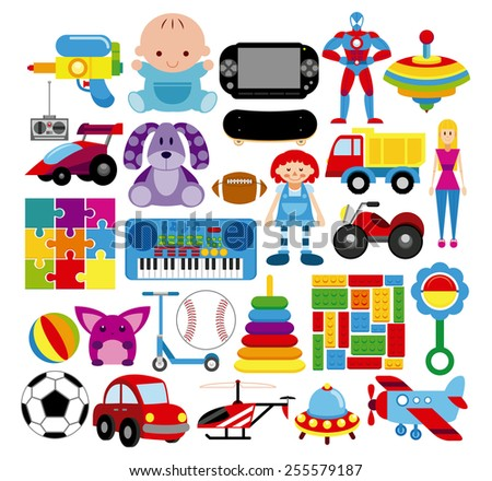 Vector Set Of Different Colorful Toys Isolated - stock vector