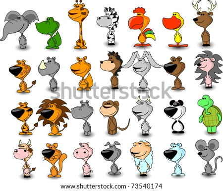 vector set of different cute animals - stock vector