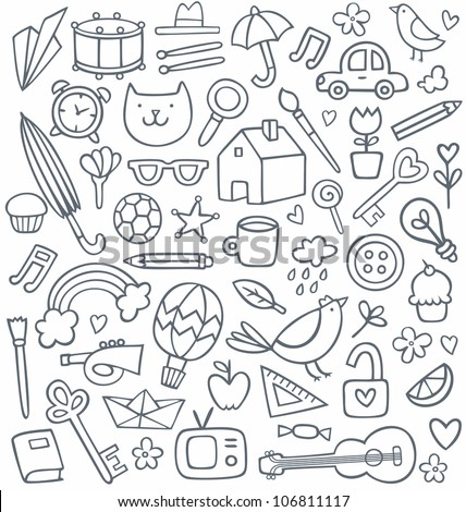 Vector set of 50 different doodles - stock vector