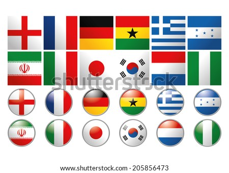 Vector Set Of Different Flags Of The World - stock vector
