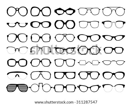 Vector set of different glasses on white background. Retro, wayfarer, aviator, geek, hipster frames. Man and women eyeglasses and sunglasses silhouettes. - stock vector