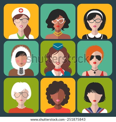 Vector set of different nationality and profession woman icons in trendy flat style - stock vector
