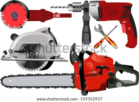 Vector Set of Different Power Tools over White Background - stock vector