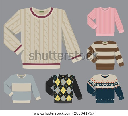 Vector set of different round neck wool and cotton sweaters for men - stock vector