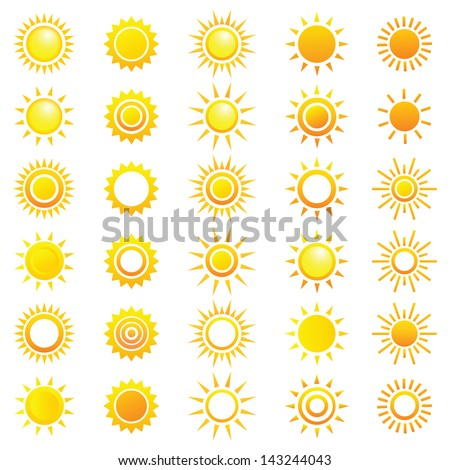 Vector set of different suns. - stock vector