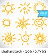 Vector set of different suns isolated, hand drawn illustration - stock vector