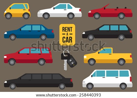 Vector set of different types of cars for rent with car key. - stock vector