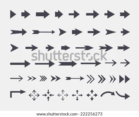 Vector set of different vector arrows isolated on white background - stock vector