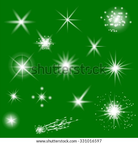 Vector Set of Different White Lights Isolated on Green Background - stock vector