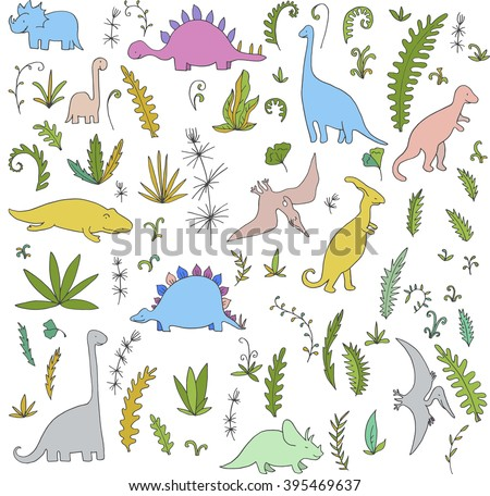 vector set of dinosaurs and prehistoric plants, hand drawn  background - stock vector