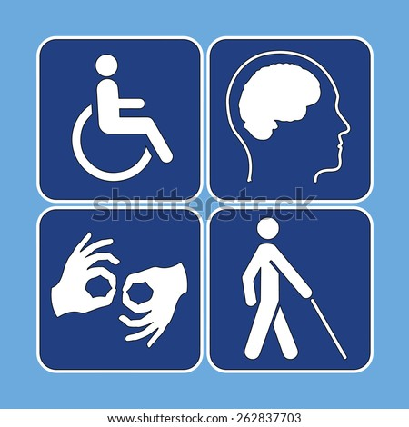 Vector set of disability symbols in blue and white - stock vector