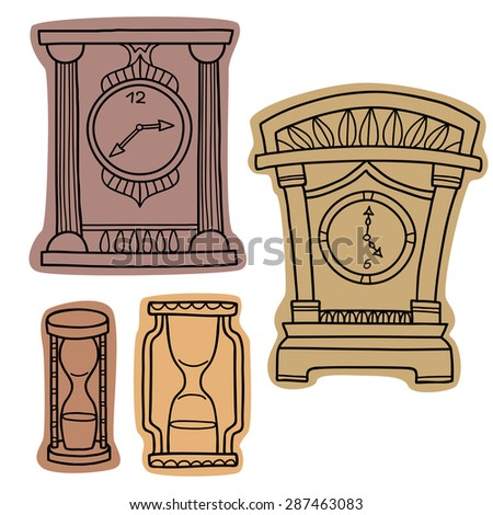 Vector set of doodle hand drawn watches. Alarm clocks, sand glasses, stop-watch isolated on white.  - stock vector