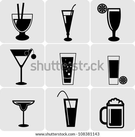 Vector Set Of Drinks - stock vector