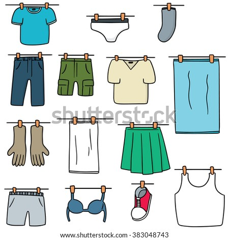 vector set of drying clothes - stock vector