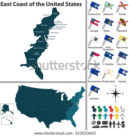 Vector set of East Coast of the United States with flags and map on white background - stock vector
