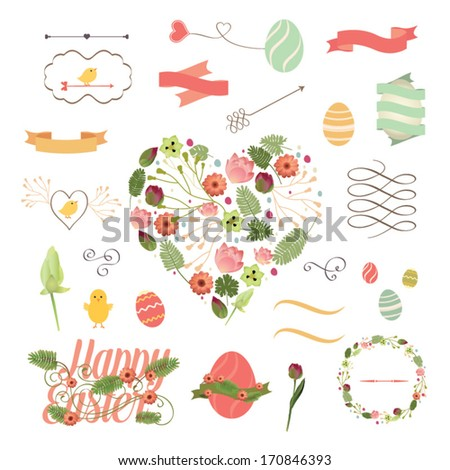 Vector set of Easter ornaments and decorative elements, vintage banner, ribbon, labels, frames, badge, stickers. Vector Easter element with retro vintage styled design. - stock vector