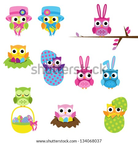 Vector Set of Easter Owls - stock vector