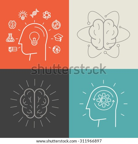 Vector set of education and knowledge illustrations and concepts in trendy linear style - icons and signs - infographic design elements - stock vector