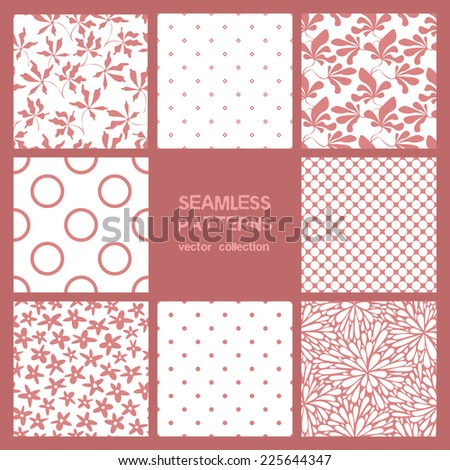 Vector set of eight seamless patterns. Floral and polka dots repeating backgrounds.  Monochrome collection - stock vector