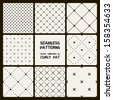 Vector set of eight seamless patterns. Modern stylish texture. Repeating geometric tiles with dotted rhombuses.  - stock vector