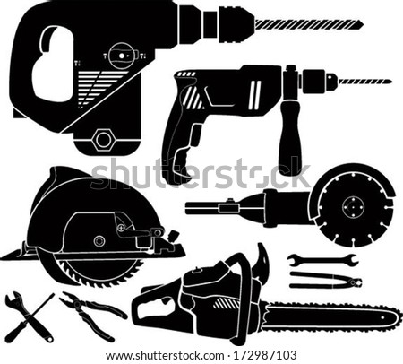 Vector set of Electric Power Tools icons - stock vector