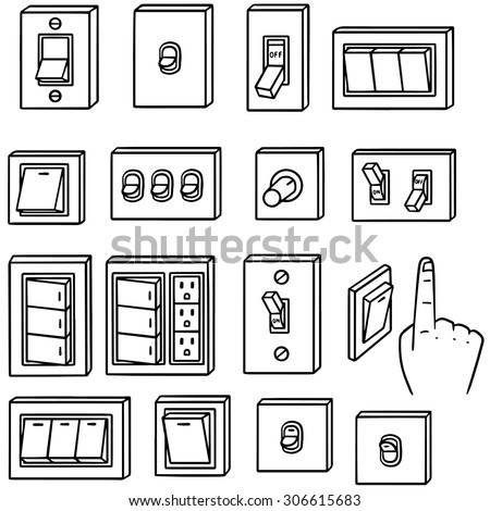 vector set of electric switch - stock vector