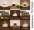 Vector set of elegant coffee themed background illustrations - stock vector