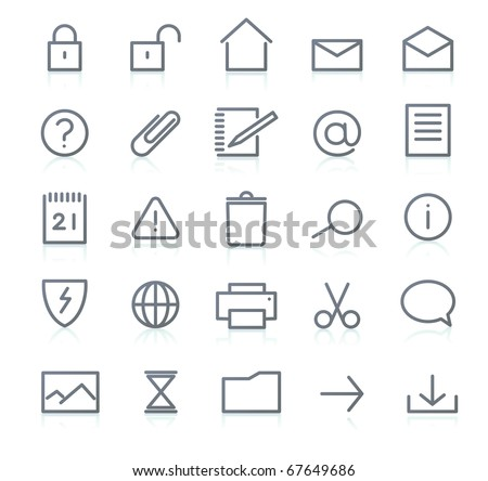 Vector set of elegant simple icons for common computer functions - stock vector