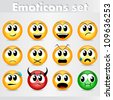 Vector set of 12 emoticons with different facial expressions - stock vector