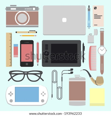 Vector set of equipment for design.  Devices for creation. Flat icons - stock vector