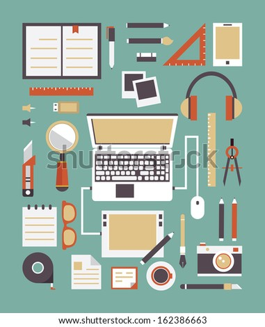 Vector set of equipment for design. Gadgets for creation. Flat style design - vector illustration - stock vector