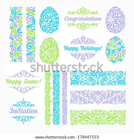 Vector set of Ester holidays decor. Vintage borders, eggs, inscriptions and pattern elements - stock vector