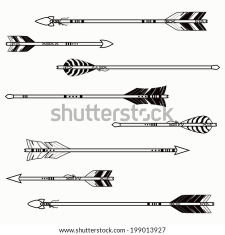Vector set of ethnic arrows - stock vector