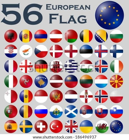 Vector set of European flags. - stock vector