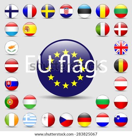 Vector set of European Union web button - stock vector