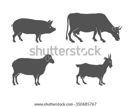 vector set of farm animals  cow, sheep, goat, pig - stock vector