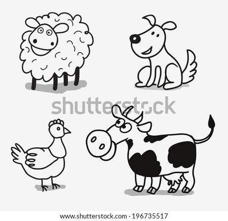 Vector Set of  Farm Animals isolated on white background - stock vector