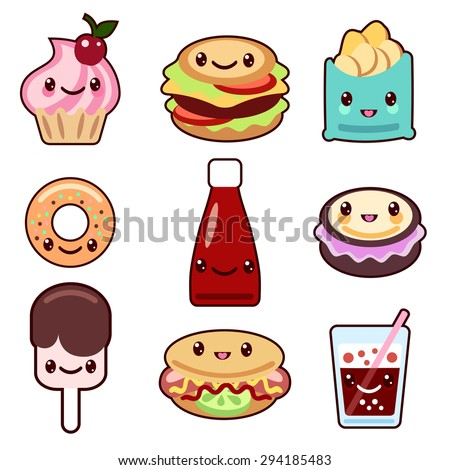 Vector set of fast food and fruit Kawaii characters - stock vector