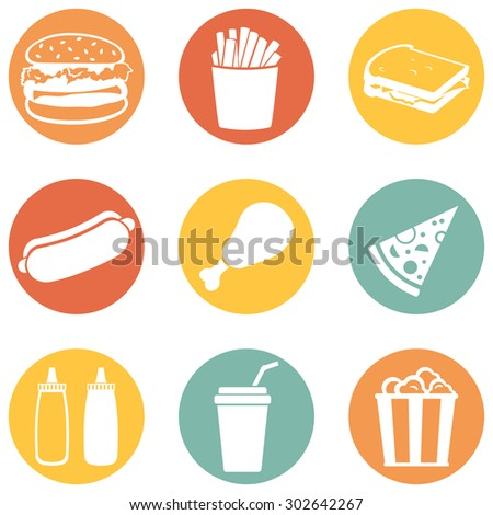 Vector Set of Fast Food Icons.  Fast Food. Junk Food. Hamburger, French Fries, Sandwich, Hot Dog, Chicken, Sauces, Beverage,  Popcorn. - stock vector