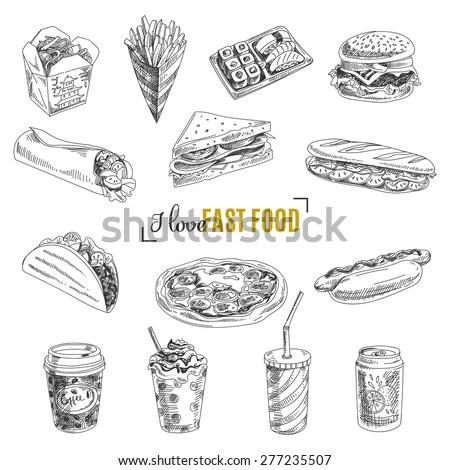 Vector set of fast food. Vector illustration in sketch style. Hand drawn design elements. - stock vector