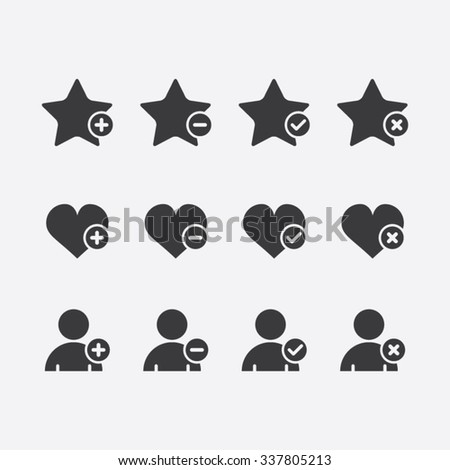Vector Set of Favorite Heart and User Icons - stock vector