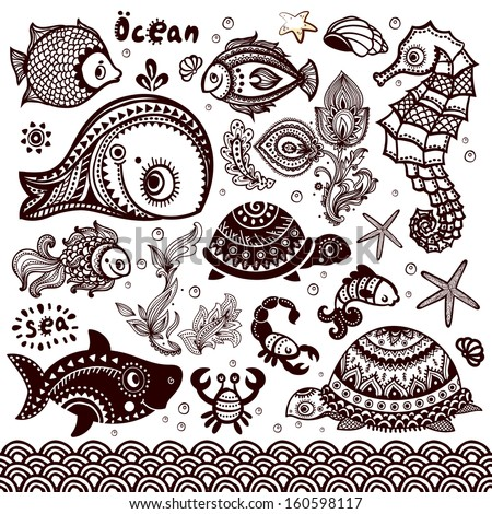 Vector set of fish and shells - stock vector