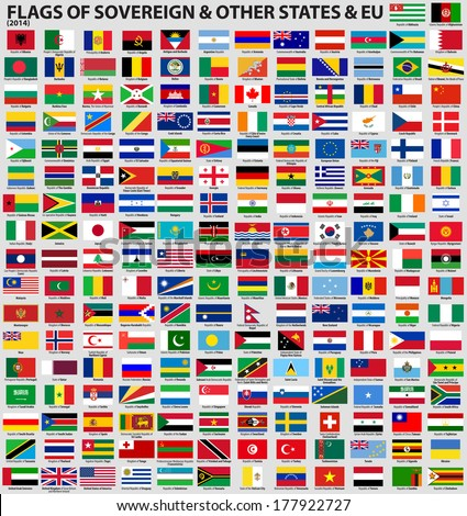 Vector set of Flags of world sovereign states & EU (February 2014). Updated information and flags.  - stock vector