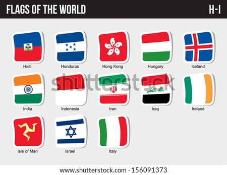 Vector set of Flags world sorted alphabetically. (H-I) - stock vector