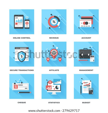 Vector set of flat banking and finance icons on following themes - online control, revenue, account, secure transactions, affiliate, management, cheque, statistics, budget - stock vector
