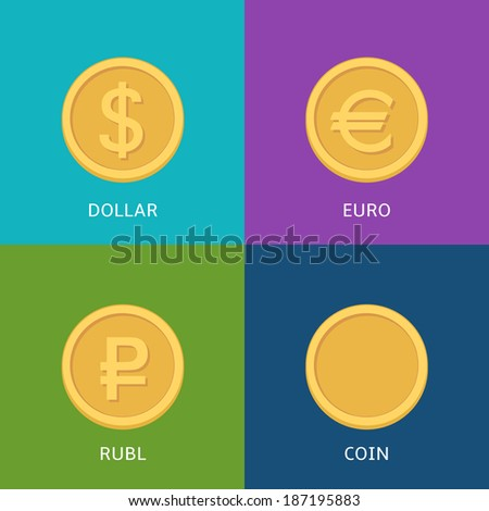 Vector set of flat coins on colorfull background - stock vector