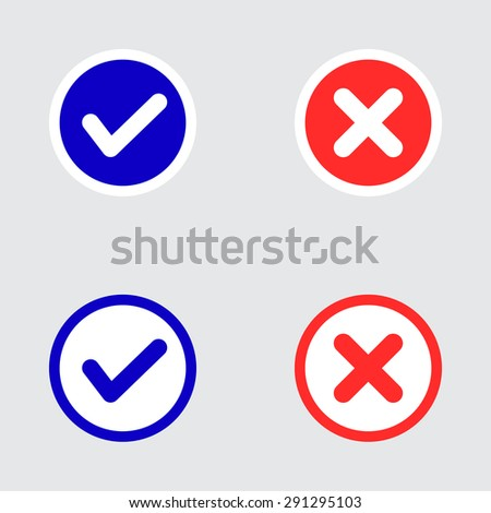 Vector Set of Flat Design Check Marks Icons. Different Variations of Ticks and Crosses Represents Confirmation, Right and Wrong Choices, Task Completion, Voting. - stock vector